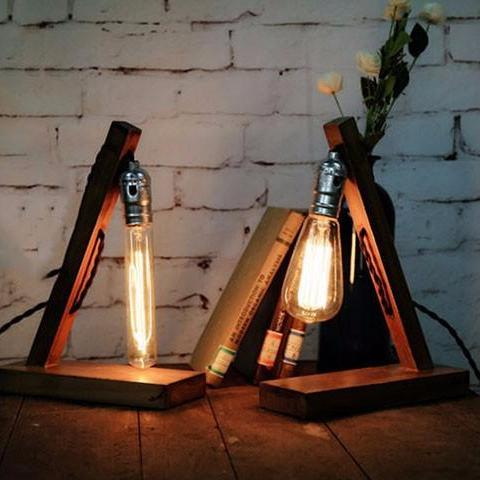 Vintage Industrial Edison Bulb Lamp with Slanted Wood Base