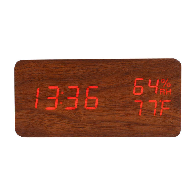Wooden Digital LED Alarm Clock with Temperature and Humidity