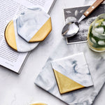 Modern Marble Coasters with Gold Accents