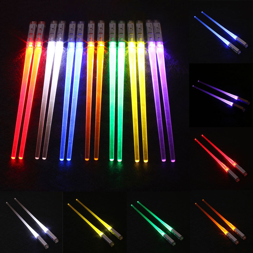 LED Light Up Chopsticks Stick Light Sabers (7 Colors)
