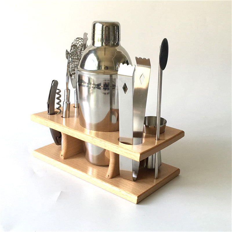 8-Piece Bar Set with Stainless-Steel Shaker, Tools, and Wood Base