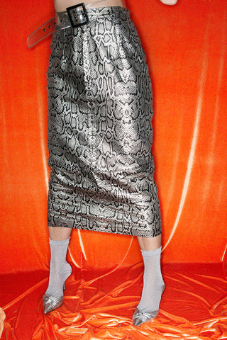SILVER LEATHER SKIRT WITH SNAKE PRINT