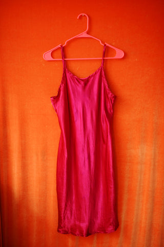Fuchsia slippery dress from 90'