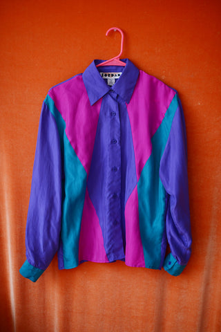 Harlequin vibe silk top