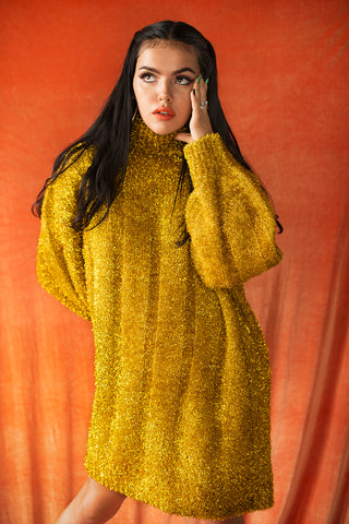 Oversize gold sweater/dress
