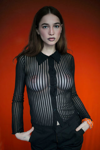 BLACK SEE THROUGH BLOUSE