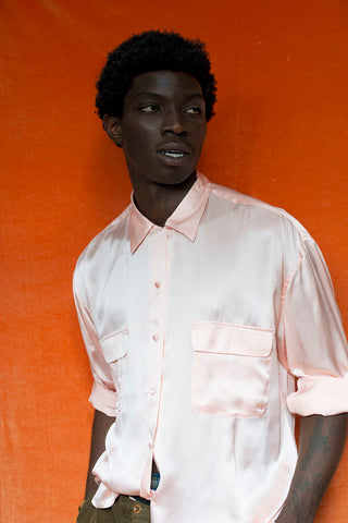 light pink silk shirt