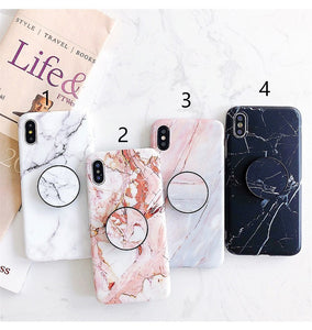 Marble Phone Case For iphone 7 Xs MAX Soft Silicone Grip Holder Cover For iphone 6 6s 7 8 Plus X XR