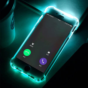 LED Flash TPU Case For iPhone 6 6S 7 8 Plus X Xs Cases Transparent Call Flash Luminous Back Covers