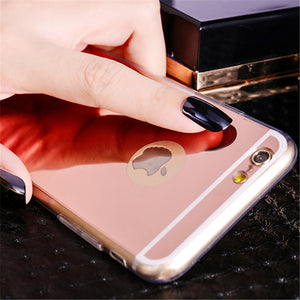 Luxury Mirror Soft Clear TPU Cases For iphone 6 6S 7 Case iPhone6 7 Plus Cases se 5s 5