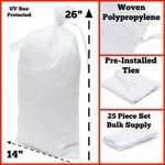 Sand Bags - 14x26 Empty White Woven Polypropylene, UV Protection, 25 Pack