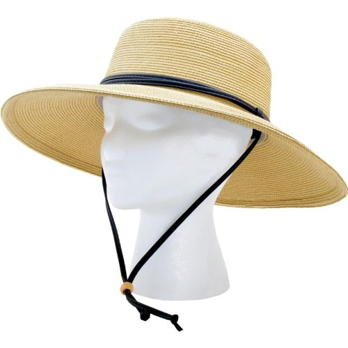 Sloggers Wide Brim Braided Sun Hat with Wind Lanyard