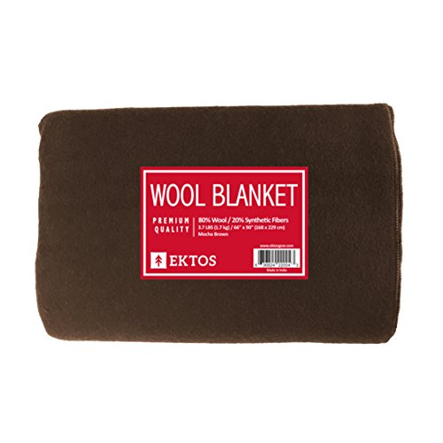 EKTOS 80% Wool Blanket, Light & Warm 3.7 lbs, Large, Washable