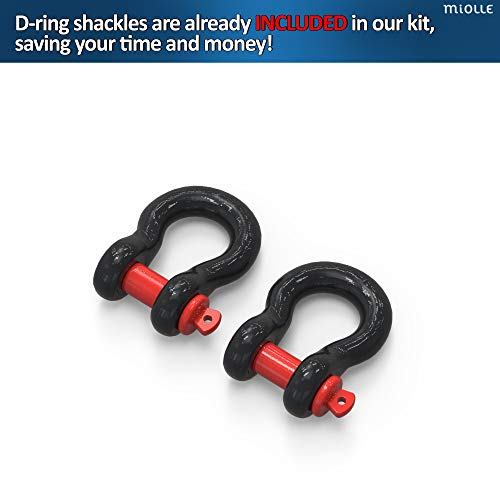 Heavy Duty Tow Strap, 20,000 lbs, 20 ft with D-Hook Shackles