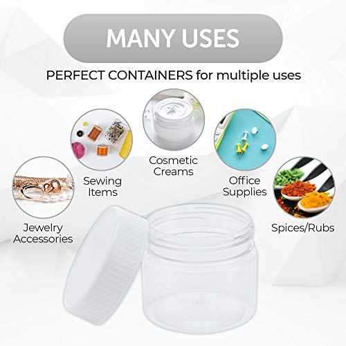 Clear Refillable Containers, White Screw-On Lid, BPA/Paraben Free