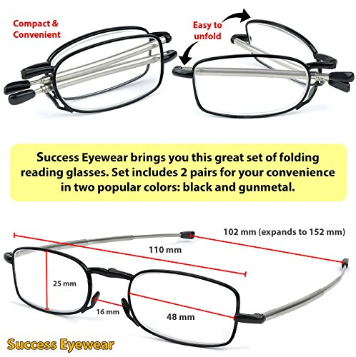 Reading Glasses 2 Pair Black Compact Folding Glasses for Men and Women Case Included +2.5