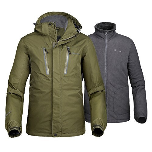 Men's 3-in-1 Jacket - Winter Jacket Set with Fleece Liner Jacket & Hooded Waterproof Shell - for Men (Olive Green,S)
