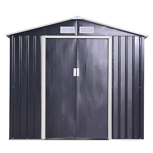Garden Storage Shed Galvanized Steel Outdoor Tool House 9 x 10 Ft Heavy Duty
