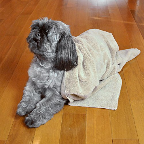 "DII Bone Dry Microfiber Pet Bath Towel with Embroidered Paw Print, 44x27.5"", Ultra-Absorbent & Machine Washable for Small, Medium, Large Dogs and Cats-Taupe"