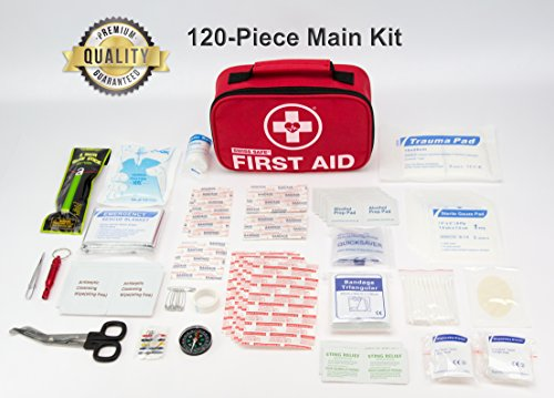 Swiss Safe 2-in-1 First Aid Kit (120 Piece) Compact, Lightweight for Emergencies