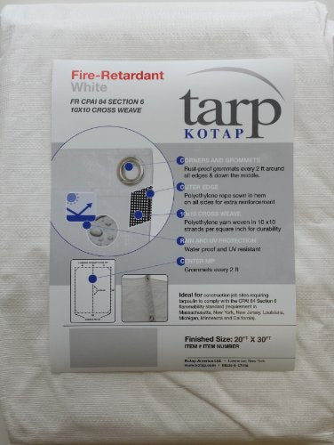 Fire-Retardant White Tarp, 20-ft x 30-ft