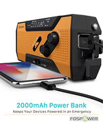 FosPower Emergency Solar Hand Crank Portable Radio, AM/FM, LED Flashlight, Reading Lamp, 2000mAh Power Bank USB Charger and SOS Alarm