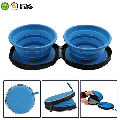 Mogoko Food-Grade Silicone Collapsible Dog Bowl Set