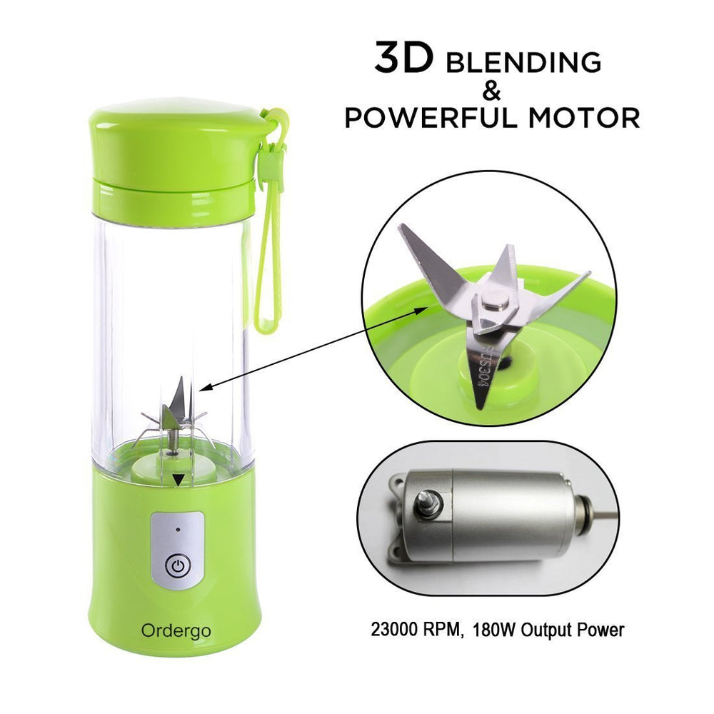Portable Blender, Ordergo USB Juicer Cup, Fruit, Smoothie, Baby Food Mixing Machine with Powerful Motor, 2x2000mAh High Capacity Batteries - Green