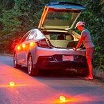 LED Road Flares Emergency Lights - Roadside Warning Car Safety Flare Kit for Vehicles & Boat | 3 Beacon Disc Pack with Tools for Easy Battery Replacement & Bonus Seatbelt Cutter