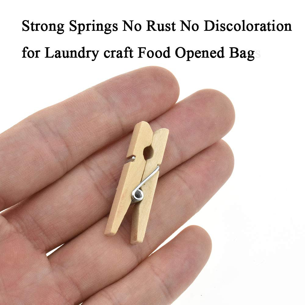 "HAHIYO Wooden Clothes Pins Clothespins 1.5"" Length 60 Pack Sturdy Do NOT Fall Apart Strong Springs No Rust No Discoloration for Laundry Craft Food Opened Bags"