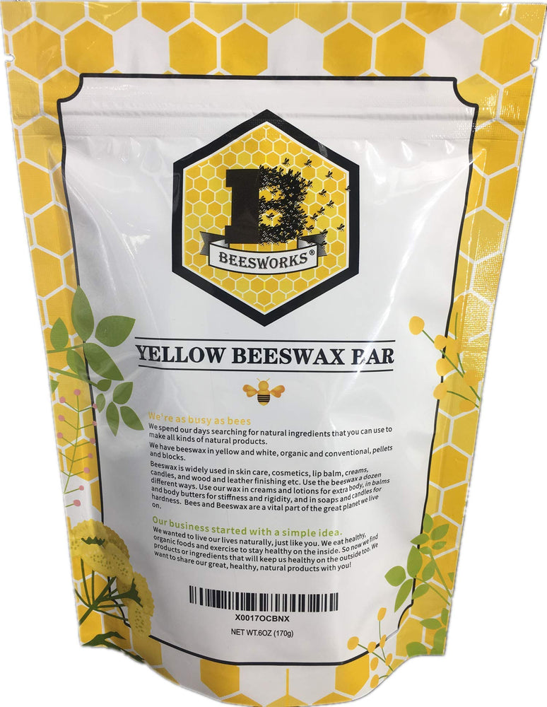Beesworks® (6) 1oz Yellow Beeswax Bars - Package of (6) 1oz Bars (6oz) - Cosmetic Grade, Premium Quality, for Many Uses