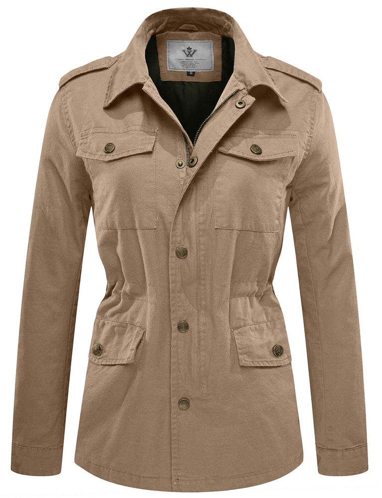 WenVen Women's Canvas Twill Military Anorak Jacket, Khaki, Large