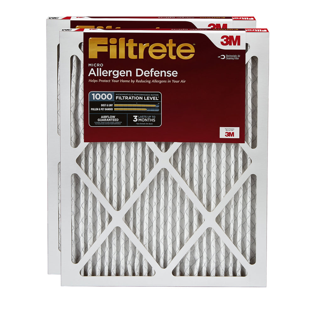 Filtrete 16x25x1, AC Furnace Air Filter, MPR 1000, Micro Allergen Defence, 2-Pack