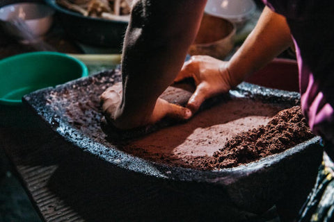 Stone Grinding Metate Traditional Cacao Making Q'eqchi Maya