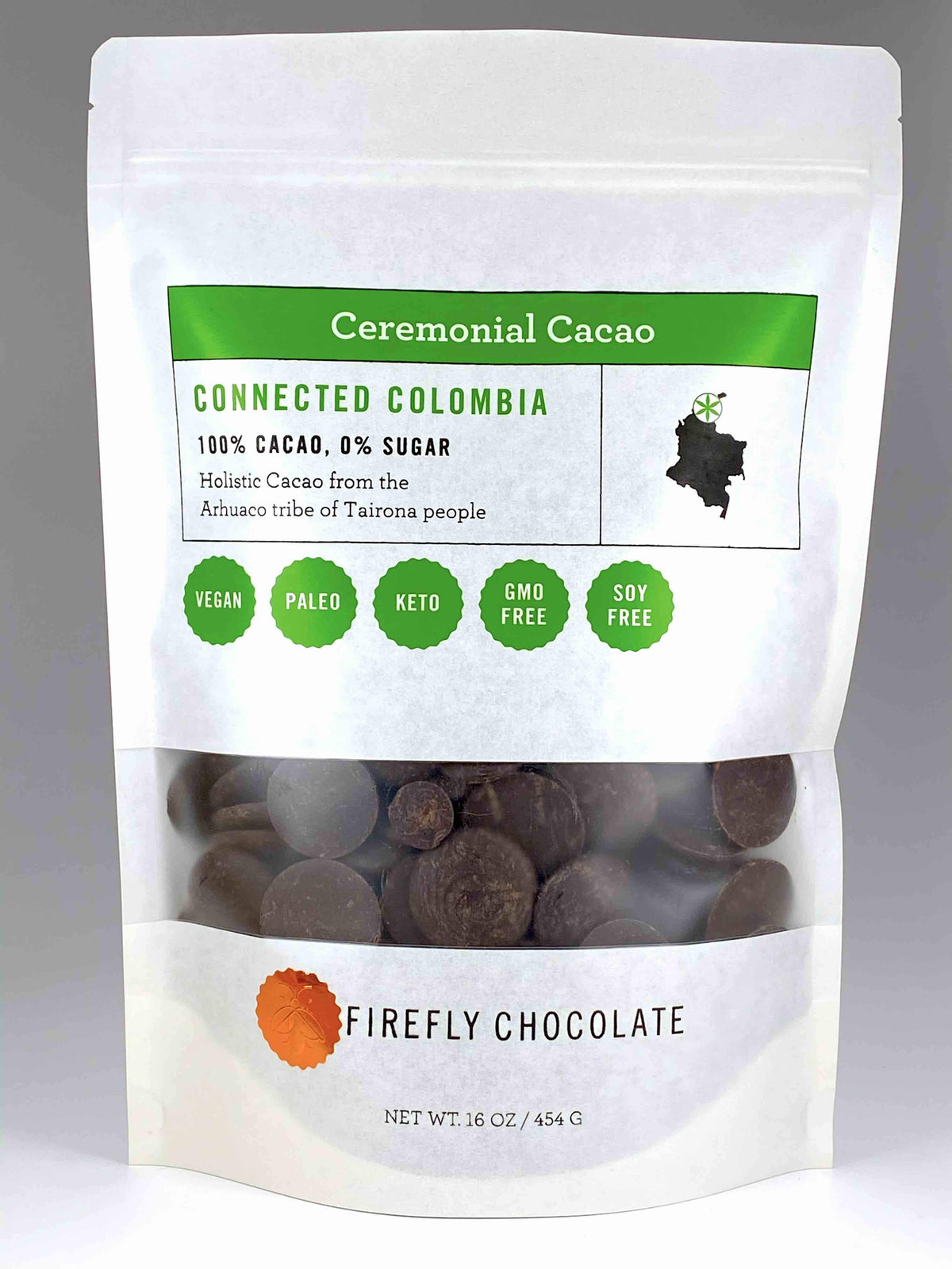 Connected Colombia 100% Ceremonial Cacao Drink for Cacao Ceremony and Holistic Health by Firefly Chocolate