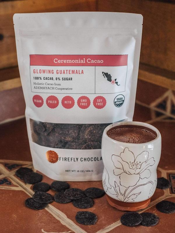 Glowing Guatemala 100% Ceremonial Cacao Drink for Cacao Ceremony and Holistic Health by Firefly Chocolate