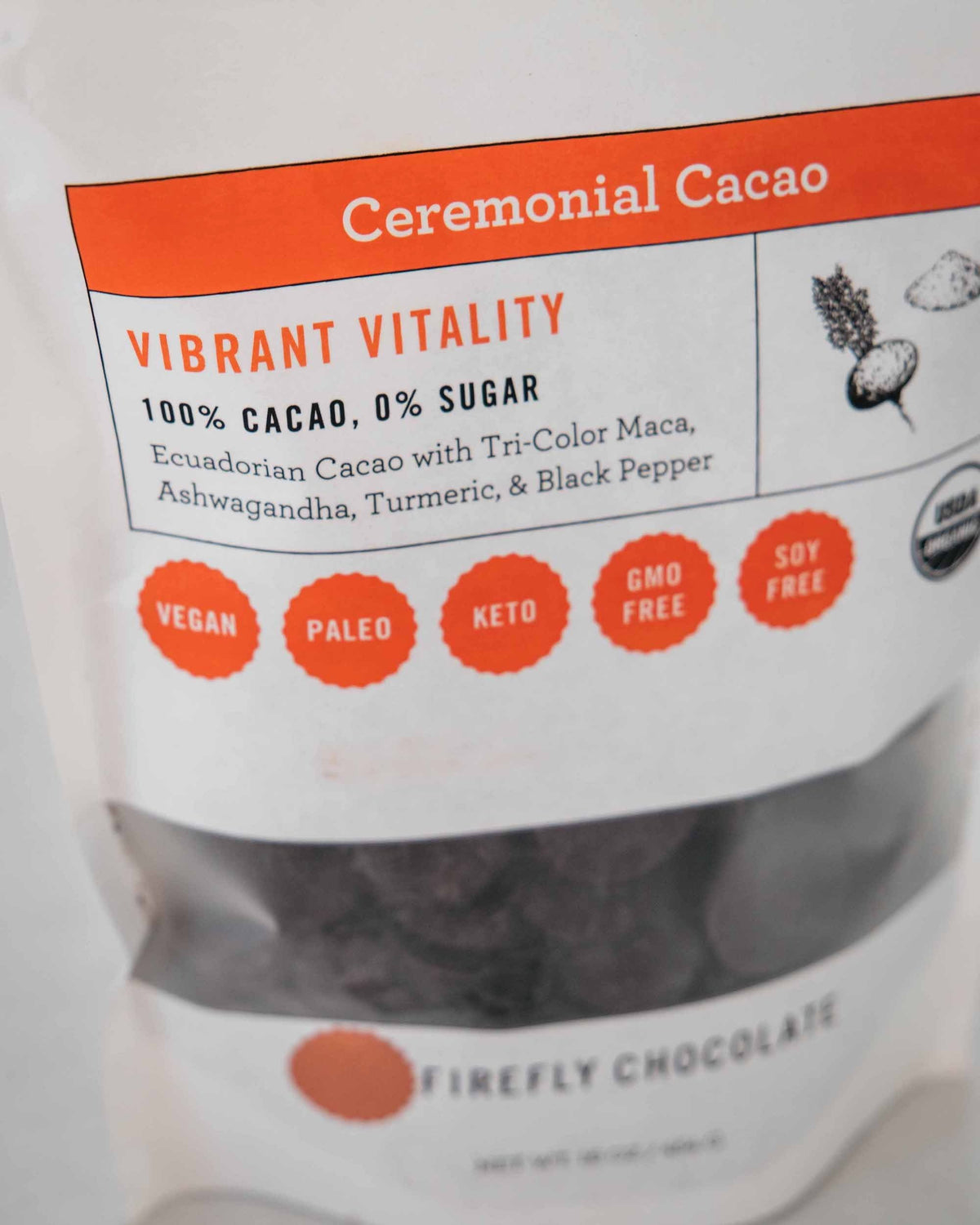 Vibrant Vitality 100% Ceremonial Cacao Drink for Cacao Ceremony and Holistic Health by FireflyChocolate