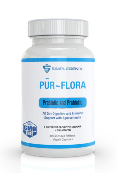 Pur Flora - Prebiotic and Probiotic with Aguave Inulin and 9 bacterial strains 25% Off 2 Bottles