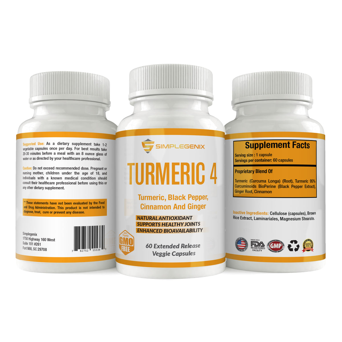Turmeric 4 - Joint Pain Anti-Inflammatory with Curcumin, Black Pepper (Bioperine), Cinnamon, and Ginger