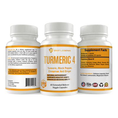 Turmeric 4 - Joint Pain Anti-Inflammatory with Turmeric/Curcumin, Black Pepper (Bioperine), Cinnamon, and Ginger - 2 Bottles