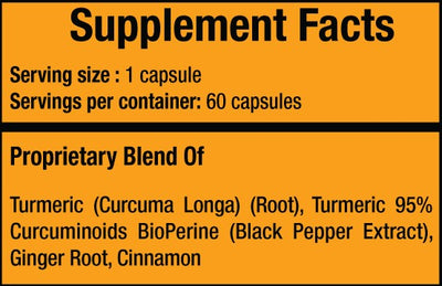 Turmeric 4 - Joint Pain Anti-Inflammatory with Curcumin, Black Pepper (Bioperine), Cinnamon, and Ginger - 4 Bottles