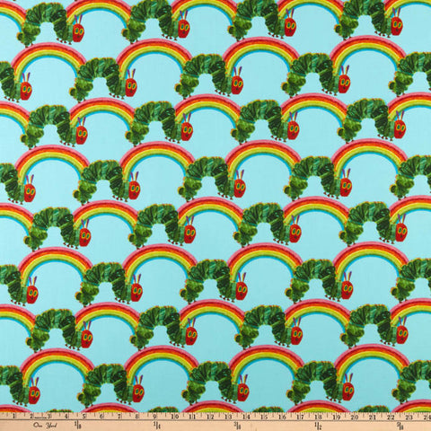 Andover The Very Hungry Caterpillar: Bright Rainbow Teal Fabric