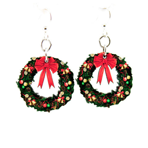 Small Christmas Wreath Earrings