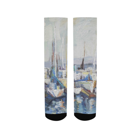 Oil painting boat Men's Socks