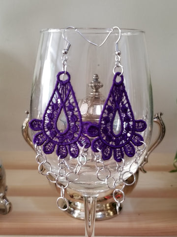 Purple Embroidery Chain Earrings