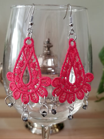 Red Embroidery Bead Earrings