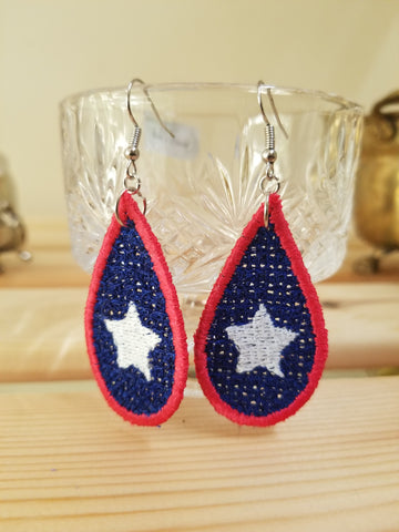Embroidery Tear Drop Patriotic Earrings