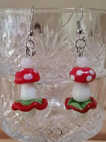 Glass Bead Mushroom Earrings