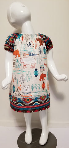 Bear Print Peasant Dress