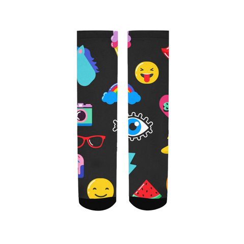 Kids Patterns Black Women's Socks